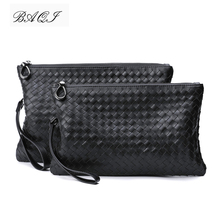 BAQI Brand Men Handbags Wallet Clutch Bag Genuine Leather Cowhide Hand Knit High Quality BV 2019 Fashion Ipad Casual