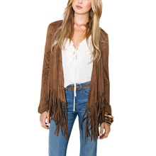 New Women's Autumn Hippie Tassel Loose Kimono Cardigan Cape Jacket