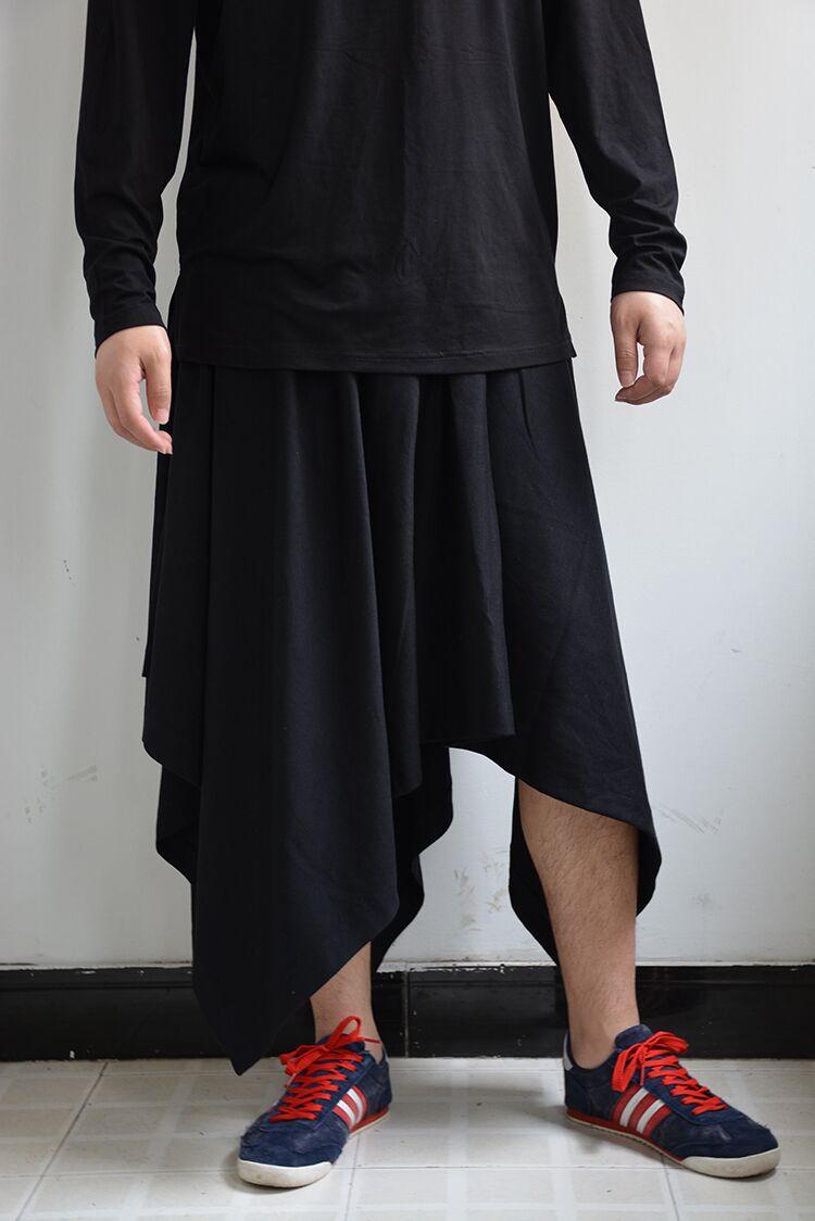 2018 Neue Herrenbekleidung Friseur Gd Fashion Individuelle Unregelmäßige Saum Rock Hosen Culotte Plus Size Kostüme 27-46