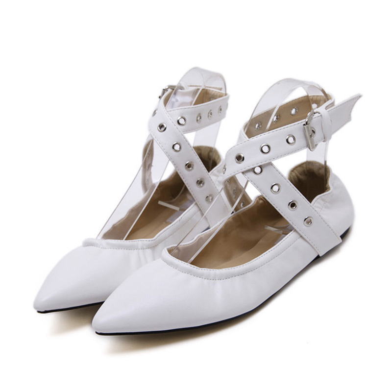 Casual Spring Rivets Women Flat Shoes Pointed Toe Leather Cross-tied White Shoes Summer Buckle Ballet Flats Ladies Party Shoes eiswelt shoes spring summer fashion rivet flats party pointed flock women shoes wedding shoes glitter flat ladies shoes zjf84