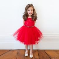 Moda dziecięca odzież 18 miesięcy do rozmiaru 6 dzieci cap rękaw koronki kryształowe paski sukienki letnie dziewczyny sukienka czerwony