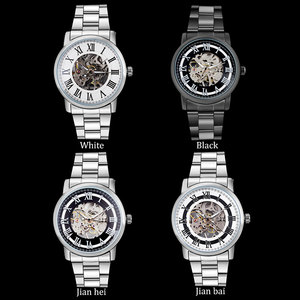Image 4 - 2016 WINNER china brand men business mechanical hand wind watch skeleton dial silver case transparent glass stainless steel band