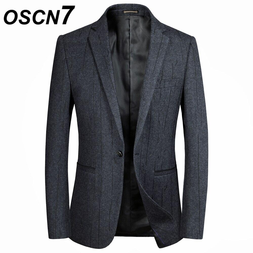 OSCN7 шерстяные полосатые блейзеры Для Мужчин серый мода Бизнес Smart Повседневное Для мужчин s пиджак куртки Slim Fit для отдыха костюм куртки 18608