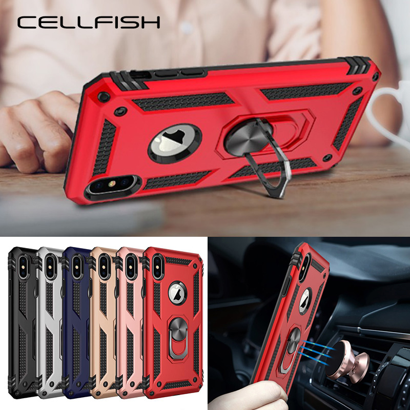 Magnetic Car Holder Case for iPhone Xs Max 10 6s 7 8 Plus 7Plus Shockproof Kickstand Ring Stand Cover Coque Capa for iPhone XR(China)