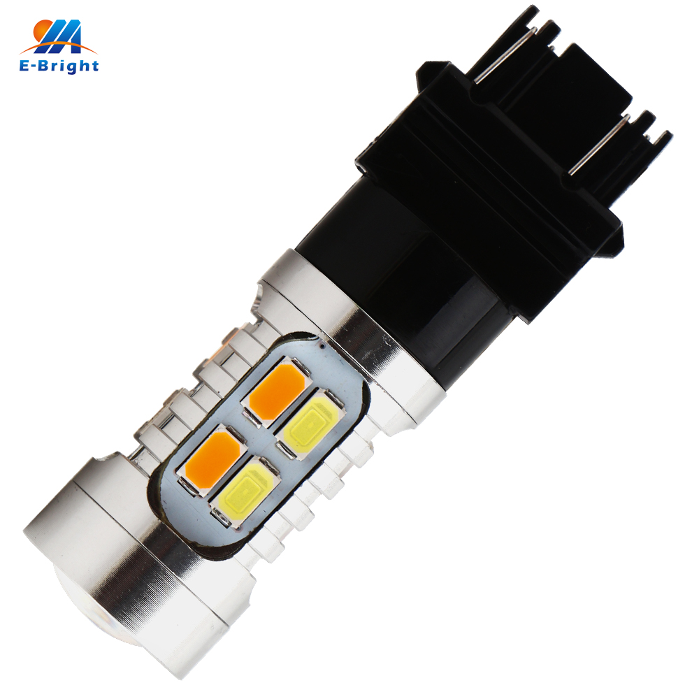 YM E Bright 10PCS 3157 P27 5W T25 5730 20 SMD Amber White Switchback LED Bulbs