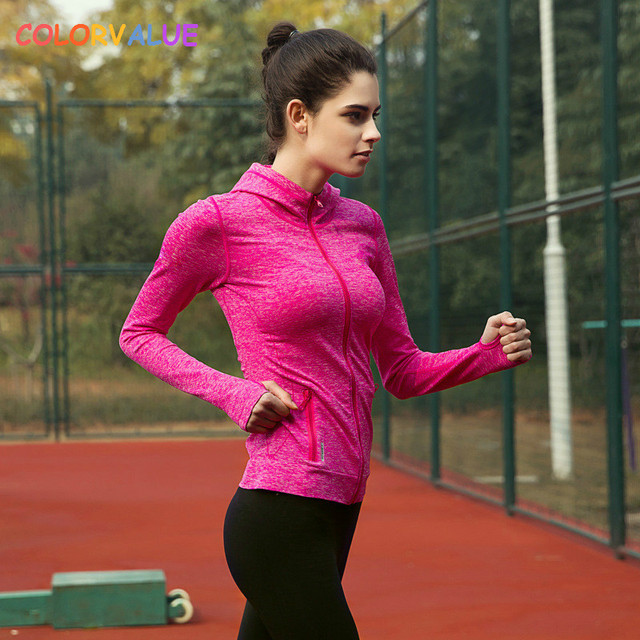 Colorvalue Running Jacket Jersey Women Windproof Hooded Sport Coat Outwear Full Zipper Fitness Yoga Gym Sweatshirt with Pocket