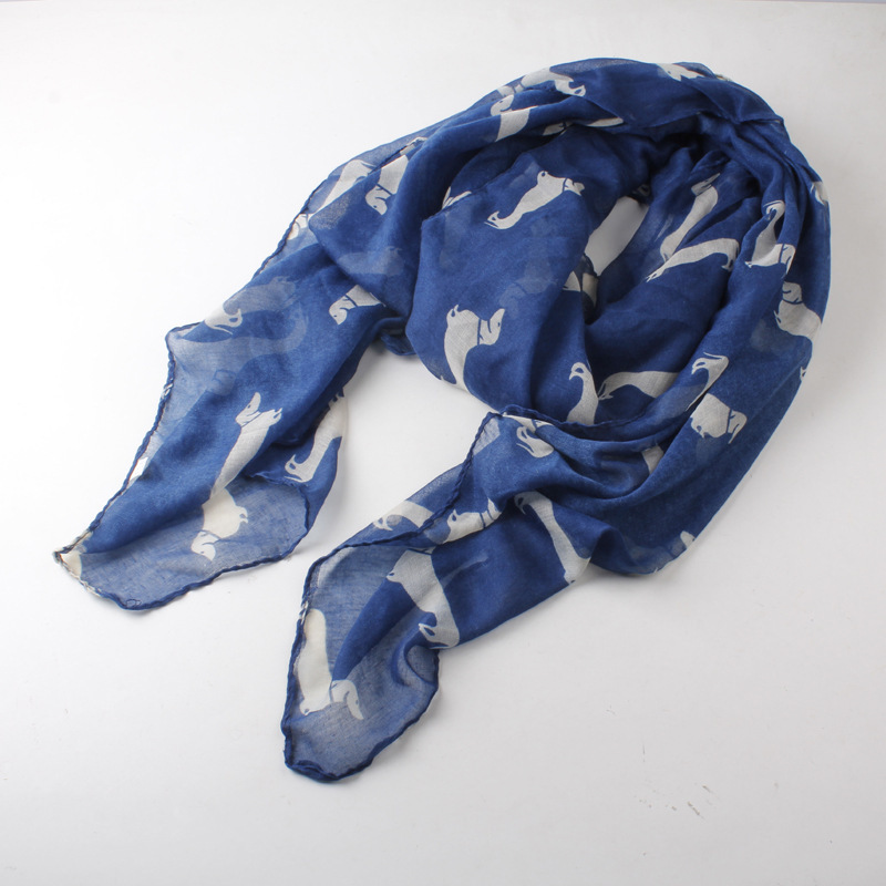 Free Shipping 2018 New Fashion Lovely Dog Animal Printed Scarves For Women /Ladies Gifts