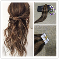 Full Shine High Quality Tapein Real Human Hair Extension #2 Dark Brown Ombre Color 5 Two Tone Balayage Tape Human Hair Extension