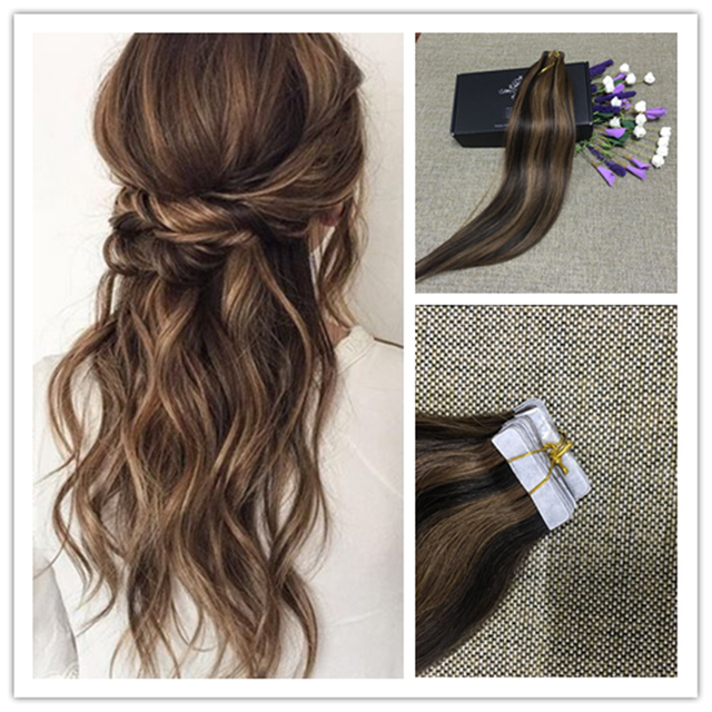 Full Shine High Quality Tapein Real Human Hair Extension 2 Dark