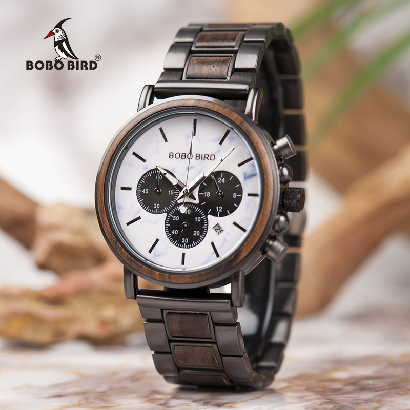 BOBO BIRD Top Luxury Brand Men Wood Watch Male Military Quartz Wristwatch With Wood Stainless Steel Band relogio masculino V-