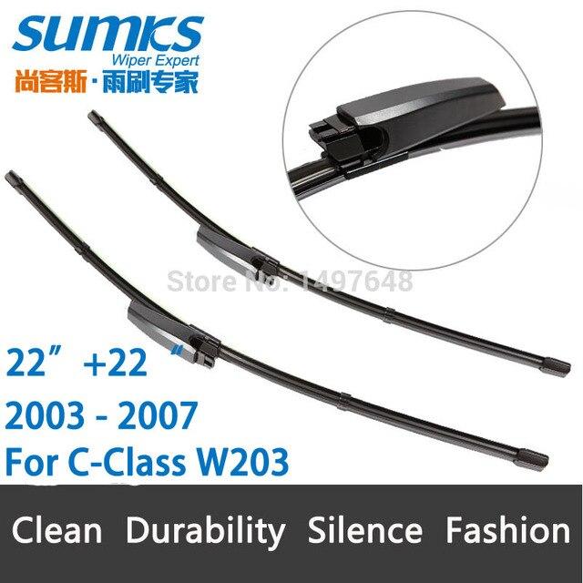 """Wiper blades para Mercedes-Benz C-CLASS W203 (2003-2007) 22 """"+ 22"""" em forma de slides braços do limpador tipo único, não ligar os braços"""