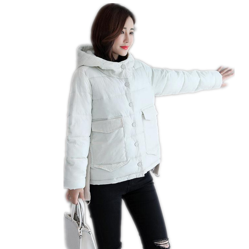 New Arrival Winter Women Short   Parkas   2018 Fashion Down Cotton Jacket Female Hooded Button Loose Warm Winter Jackets MujerCQ2387