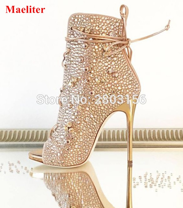 Newest women peep toe fashion crystal booties ladies stiletto high heel ankle boots rhinestone short boots party shoes newest design retro peep toe booties