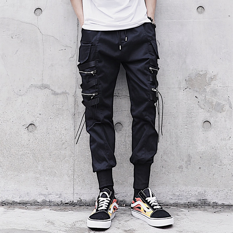 2020 Harajuku Cotton Multi-Pockets Safari Style Men's Jogger Trousers Hip Hop Fitness Summer Harem Pants Men Elastic Trousers