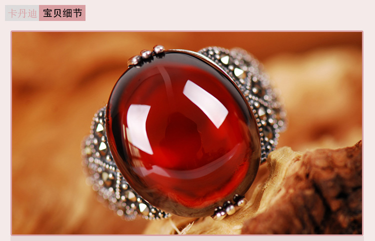 Vintage Silver Garnet Ring finger opening 925 female silver silversmith old national ruby faux ruby engraved fret finger ring