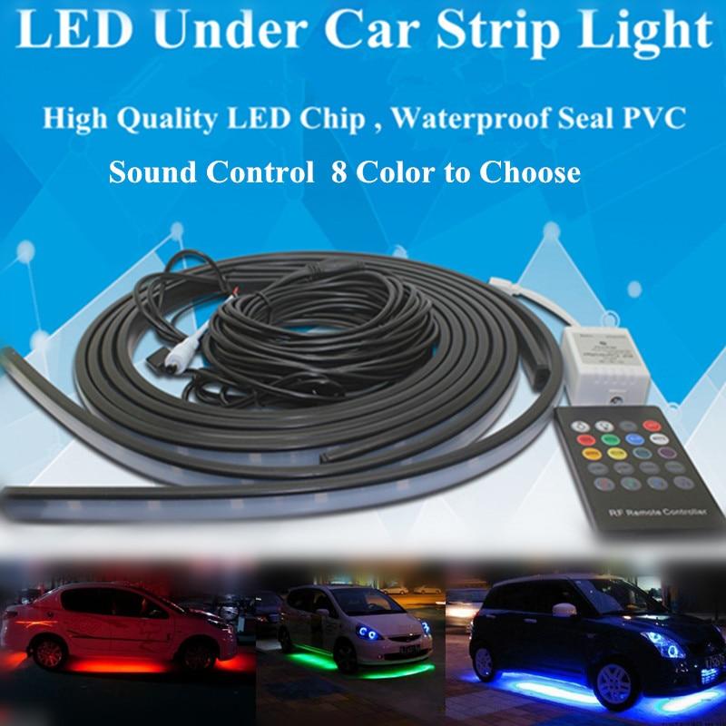 New Wireless Sound Control 5050 LED RGB Flash Strip Under Car Auto Glow Underbody System 8