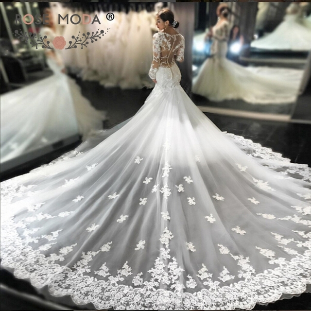 Rose Moda Luxury Lace Mermaid Wedding Dress with Removable Long Train Long  Sleeves Bridal Dresses 1b8fa3717d3a