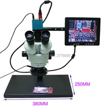 New Adapter 0.4X Trinocular Stereo Microscope 3.5X-90X Continuous Zoom Synchronization Focus+16MP 1080P HDMI Camera+LED Light