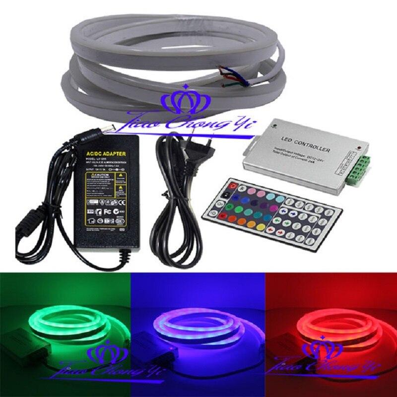 2M DC12V 5050 RGB Flex solf led neon rope strip+12A RGB controller+5A 12V power Supply EU plug