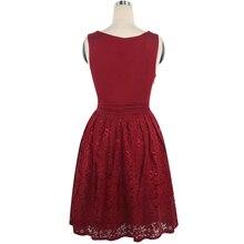 Elegant Womens Wedding Party Sleeveless Stretchy Cotton Lace Dresses