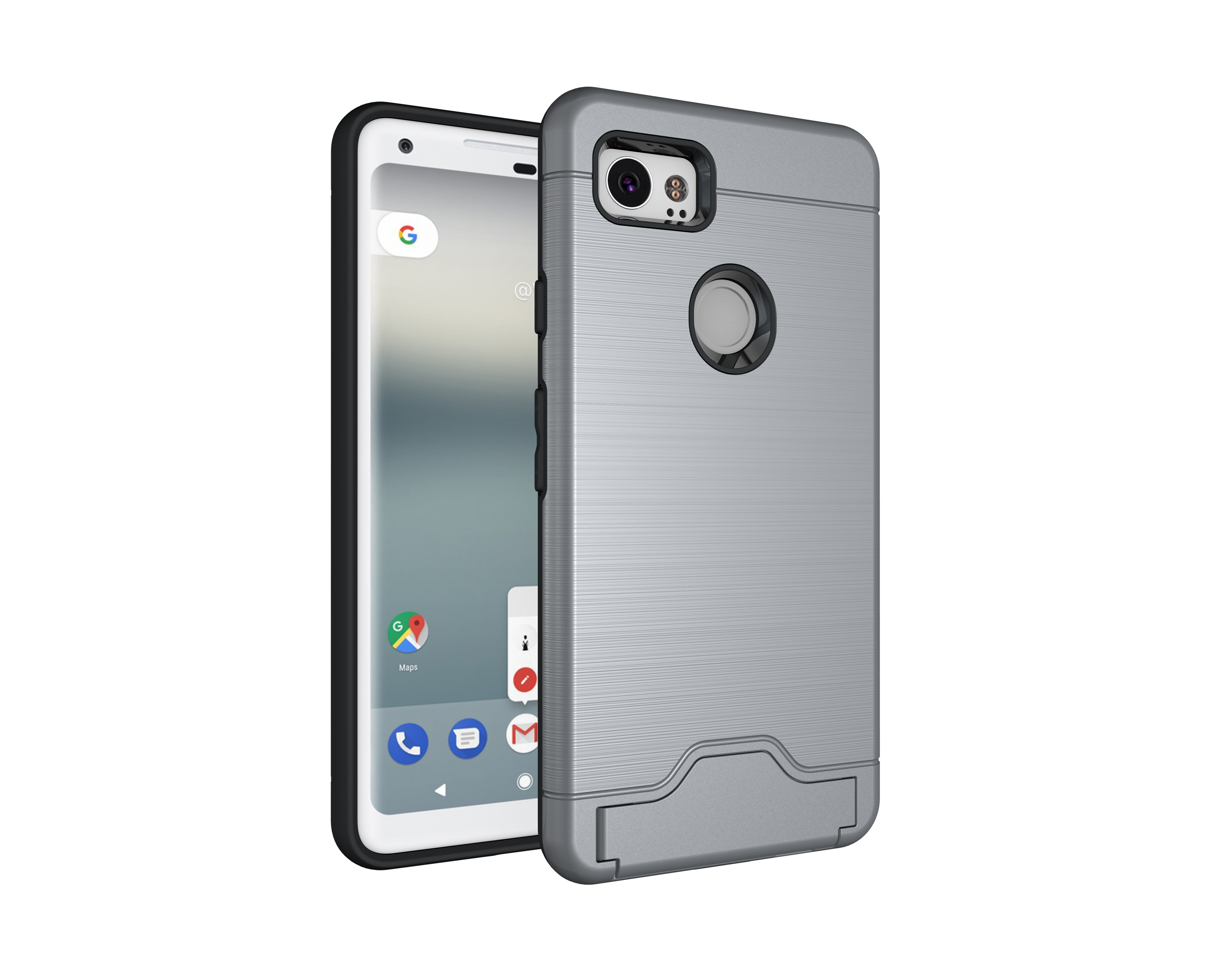 Armor Bumper Case For Google Pixel 2 XL Hybrid Stand Cover For Google Pixel 2 XL Military Grade Shockproof Case With Card Holder