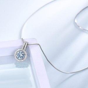 Image 3 - Umchoブルートパーズ宝石用原石のペンダントネックレス女性のための固体 925 スターリングシルバーペンダントブランドファイン結婚式の宝石類のギフト彼女