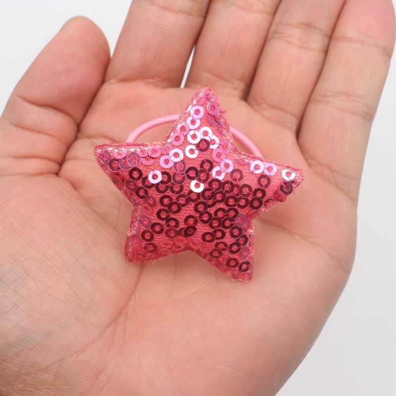2018 новая круглая блестка пятиконечная звезда нейлон и каучук резинки для девочек эластичные резинки для волос аксессуары для волос, резинки для детей 1 шт