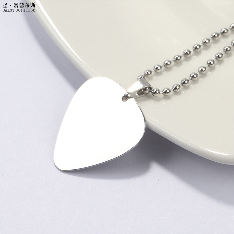 Guitar Pick Pendant Necklace Stainless Steel with 50cm/20inch Bead Ball Chain Silver Col ...