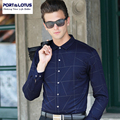 PORT&LOTUS Brand Cotton Casual Shirts Men Long Sleeve Thin Mens Blouse Argyle Camisa Masculina Men's Clothing YT033 89706