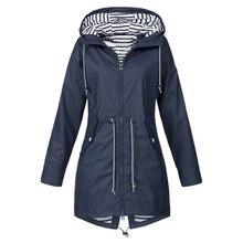 цена на Womens Solid Rain Jacket Outdoor Jackets Waterproof Hooded Raincoat Windproof Chaquetas Mujer 2019 Veste Femme Printemps 5.24
