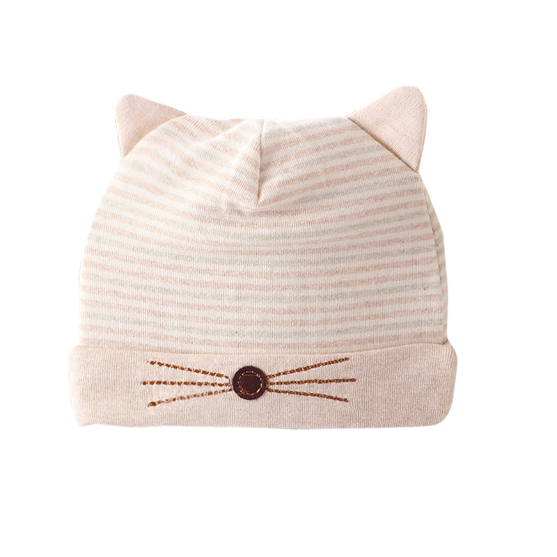 Cat Baby Hat Cute Newborn Tire Hat With Ears Color Cotton Striped Baby Beanie Autumn Bab ...