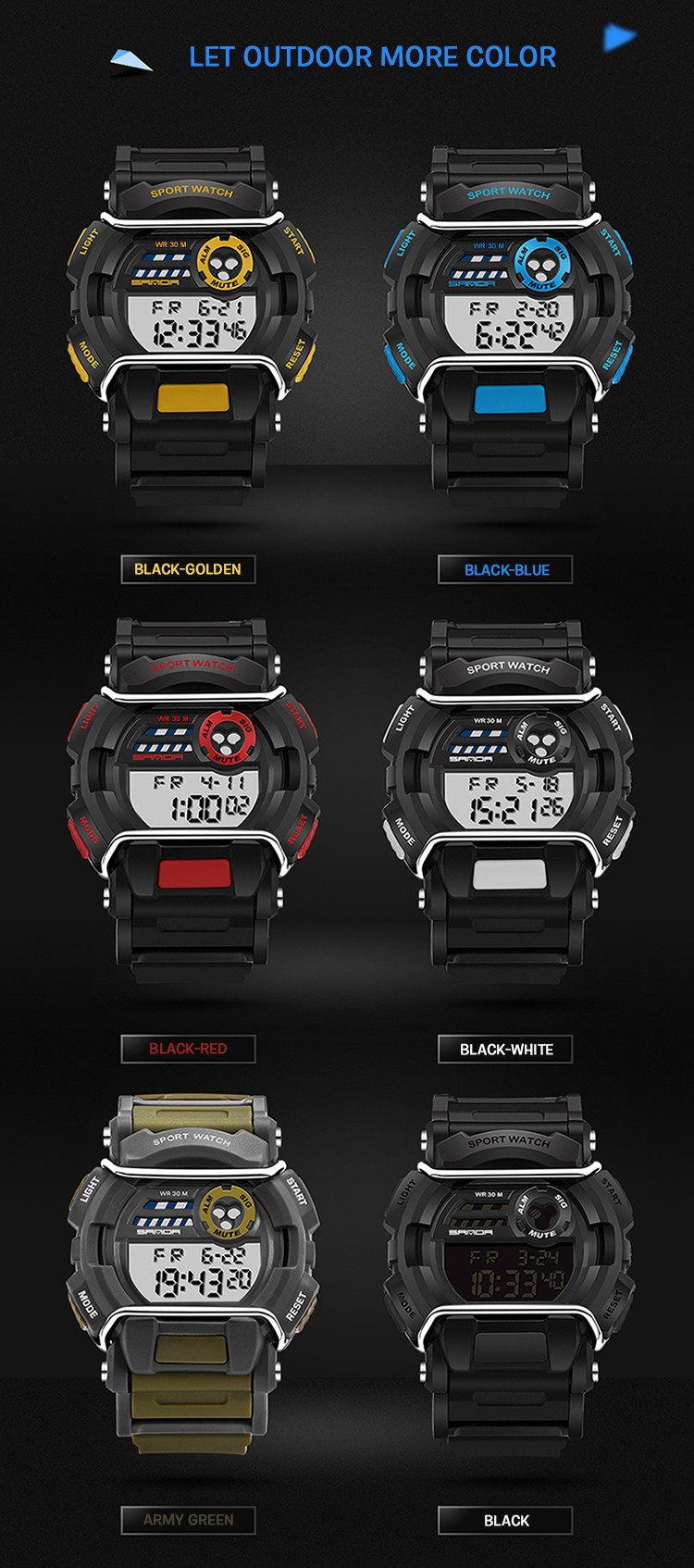 sanda luxury brand led digital watches fashion men\'s sports wristwatches drop shipping (29)