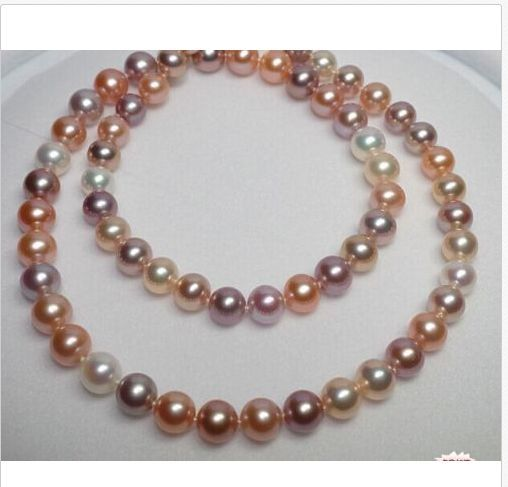 gorgeous 9-10mm south sea round multicolor pearl necklace 18inch 925 silver gorgeous 13 14mm south sea baroque multicolor pearl necklace 18inch
