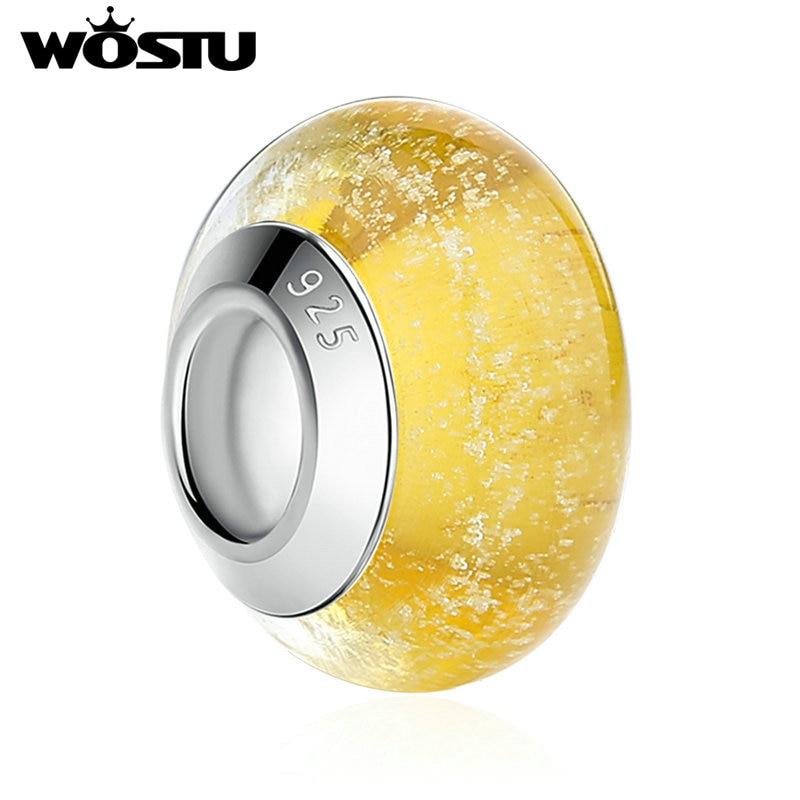 4d7d0133b616 Alta calidad amarillo luminoso Murano Glass Beads Fit Original pulsera del  encanto del wst colgante DIY joyería de fabricación