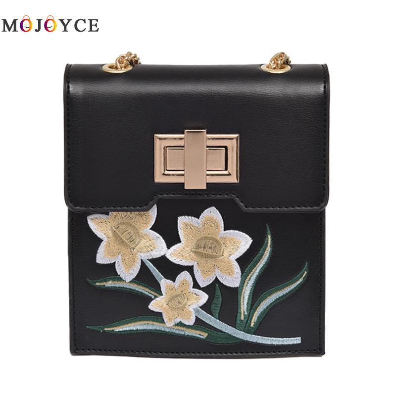 Retro Floral Embroidery Women Messsage Bag Female Purses Girls Crossbody Cellphone bags shoulder bag wallet handbags