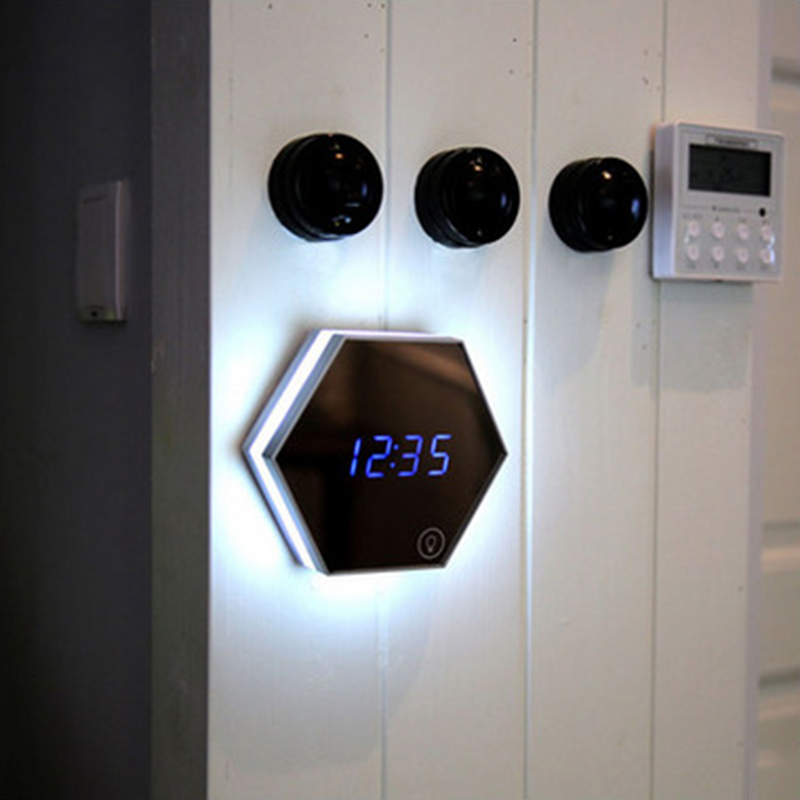 Новинка освещения творческие макияж зеркало лампа с будильник термометр 5 Вт Перезаряжаемые световой цифровой трубы ночник