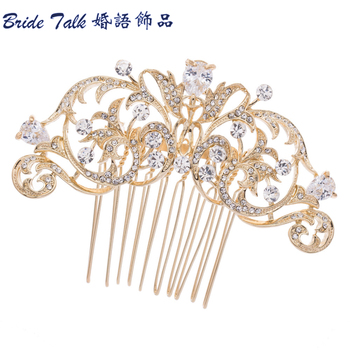 Wholesale Drop Zircon  Fashion Flower Bridal Hair Comb Pin Rhinestone Crystal Wedding Hair Comb Women Jewelry CO2253R