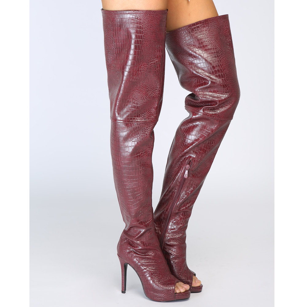 Оригинальные Модные женские ботфорты выше колена сапоги до бедра на тонком каблуке с открытым носком винно красная обувь женская обувь бол... - 5