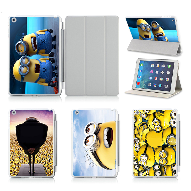Lovely Two Minions Smart Case For Apple iPad air 1 2 ipad 5 ipad 6 Leather