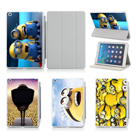 Lovely Two Minions Slim Thin Pu Leather Case For Apple Ipad Air 2 Case Stand Protector