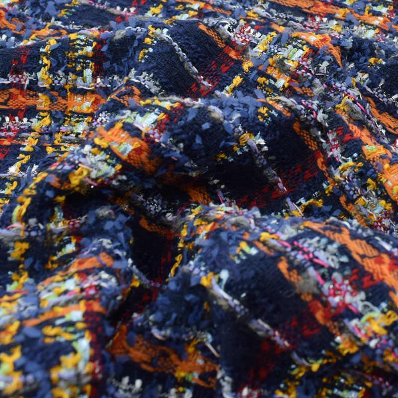 2018 ファッションカラフルなチェックウールソフトツイード生地ドレスコートtelasポル地下鉄tissu auメートルtecidoテラ織物博物館クリスマス