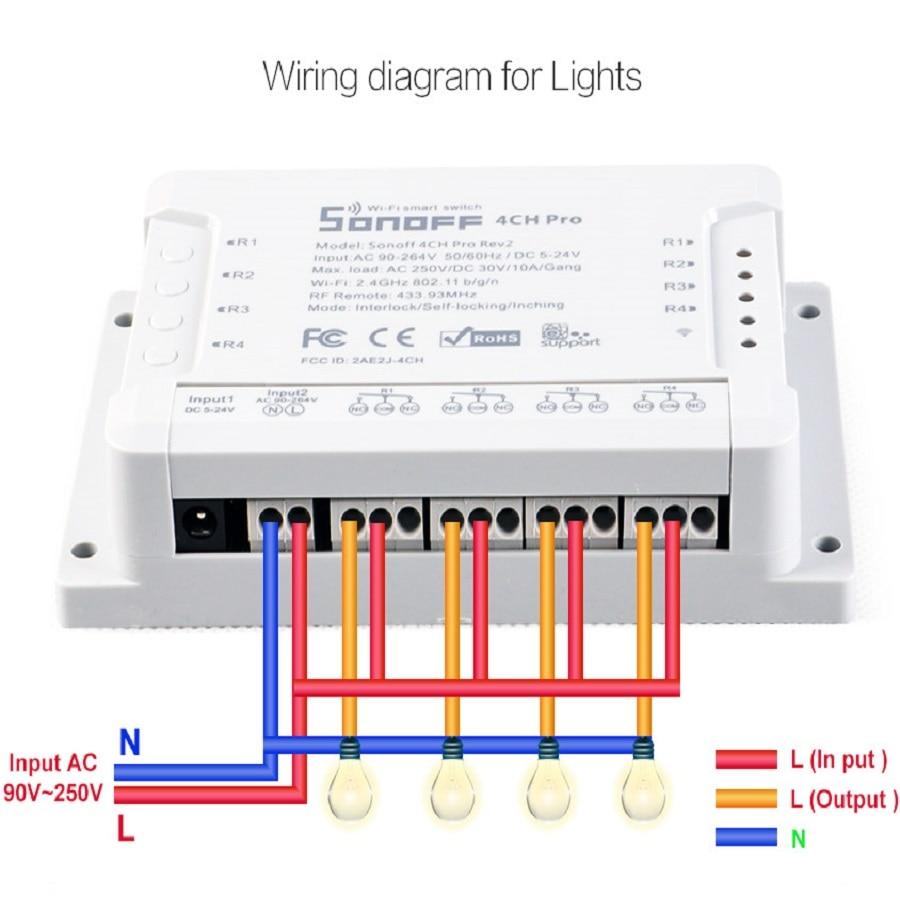 Sonoff 4CH PRO - 4 Channel WiFi Wireless Switch