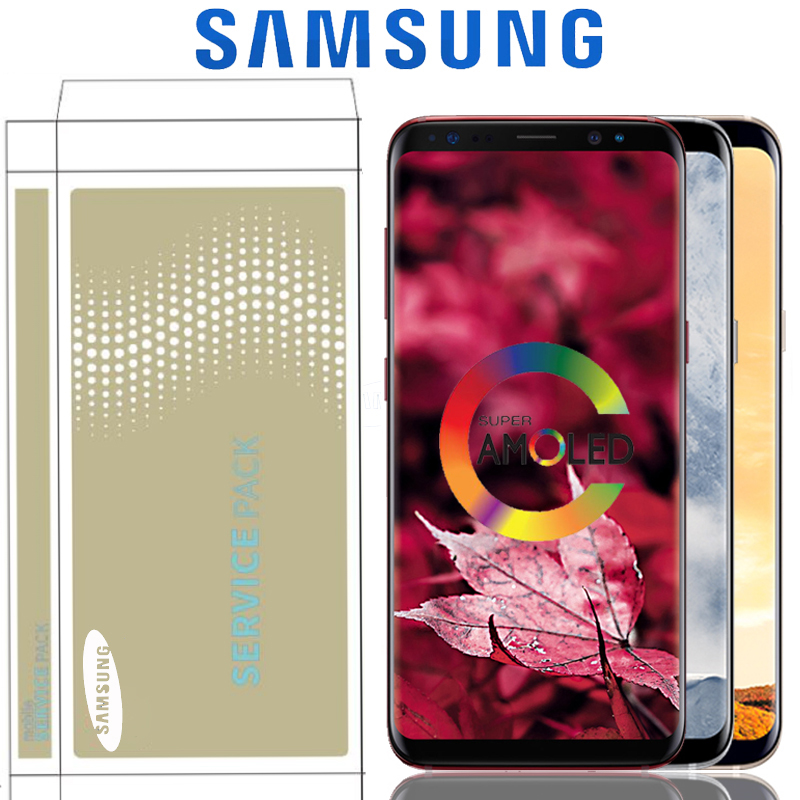 Original Burn Shadow LCD With Frame For SAMSUNG Galaxy S8 G950 G950F Display S8 Plus G955