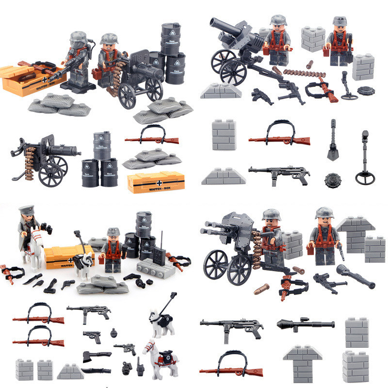 WW2 Lightning Raid Military With Many Weapons gun Soldier Set Army Toys Building Blocks Set Compatible With LegoINGly Weapon pvc building blocks army field combat military escort weapons