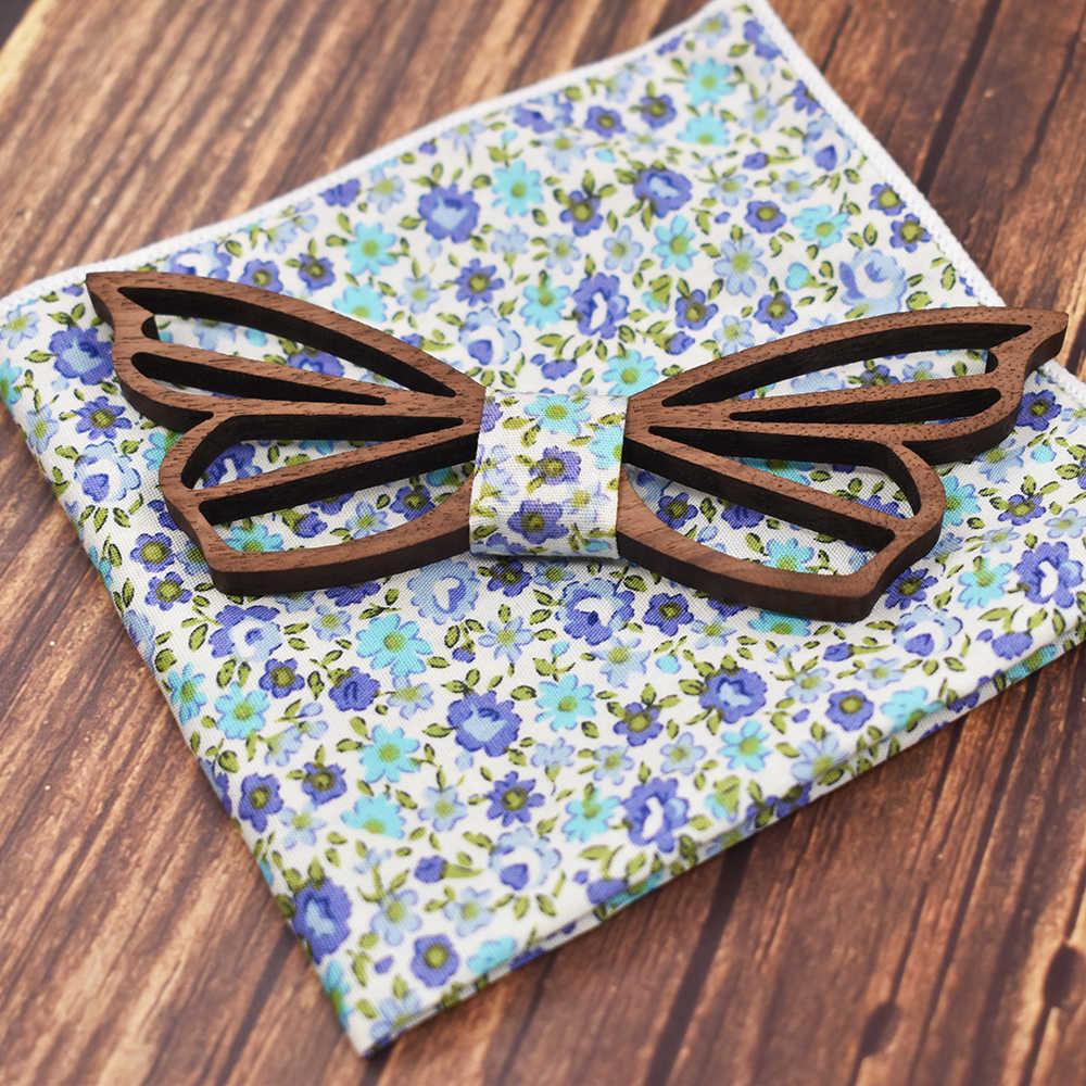 Mahoosivo gravata borboleta em madeira, nova gravata artesanal de madeira com laço para casamento, acessórios de borboleta para homens
