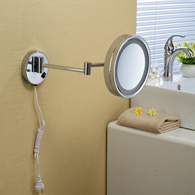 High quality 10' Brass one side bathroom wall mounted round led cosmetic makeup mirror With lighting Mirror Bath accessories2098