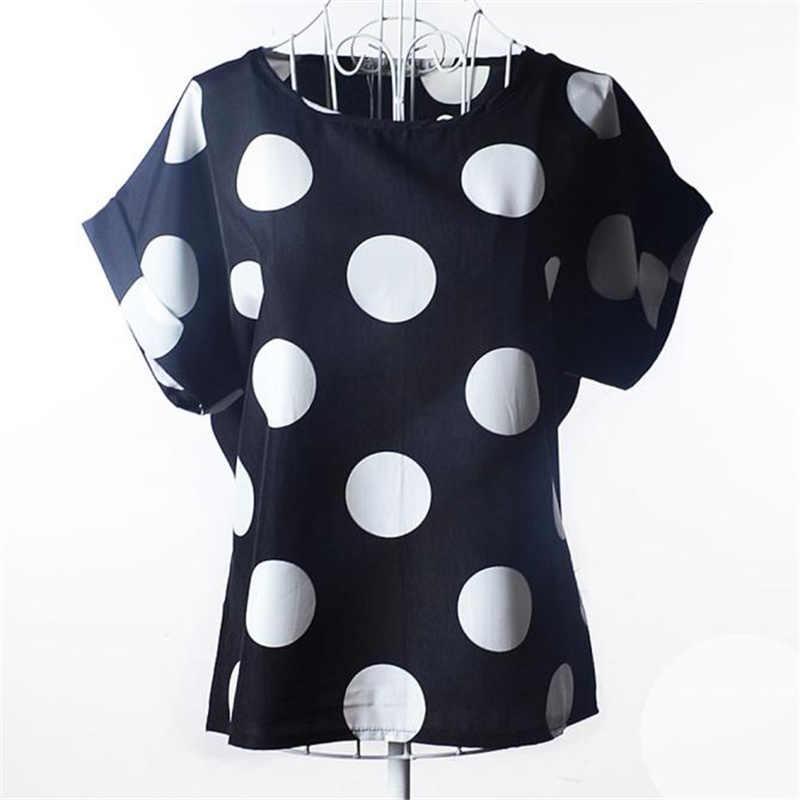 ใหม่ชีฟองผู้หญิงเสื้อ Vintage Blusas Femininas 2XL เหมาะสำหรับขนาดสั้นแขนเสื้อ Polka Dot ผู้หญิง Tops 2019*50