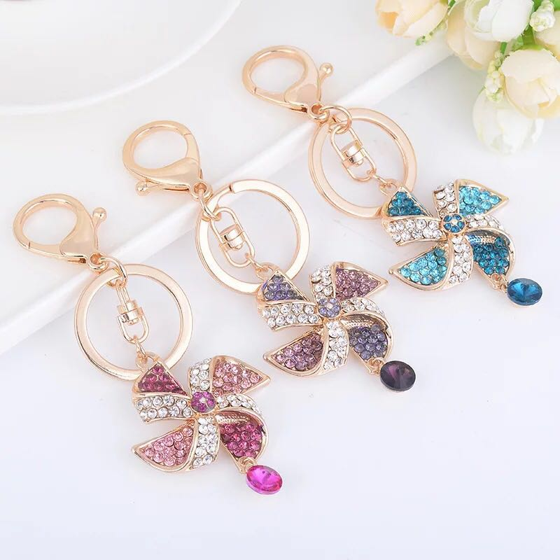 New Creative Crystal Windmill Keychain Car Key Chains Female Bags Pendant Accessories Exquisite Gifts Charm Jewelry Keyring