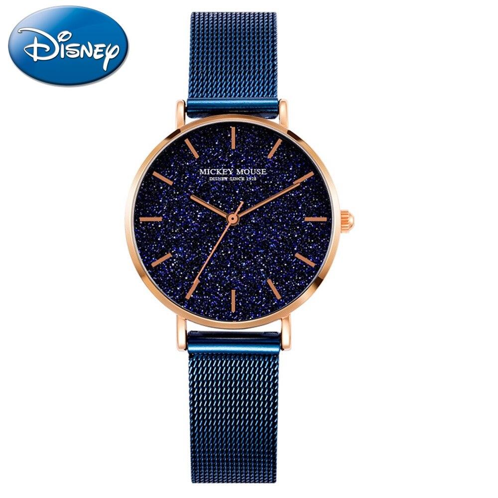 オリジナルディズニー女性ステンレス鋼クォーツラウンド星腕時計女性高級品質ファッションシンプルで人気のある時計ミッキー時間  グループ上の 腕時計 からの レディース腕時計 の中 1