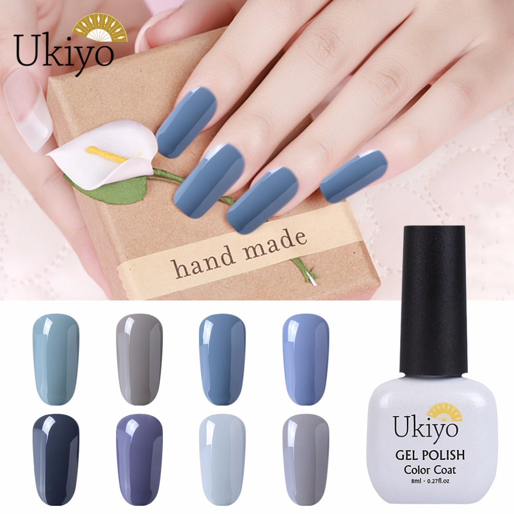 Ukiyo Grey Color Series 8ML Top Base UV Gel Nail Polish Hybrid ...